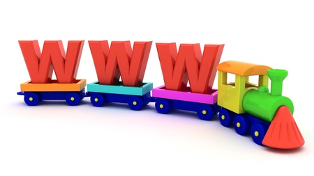 Red letters WWW on the toy train photo