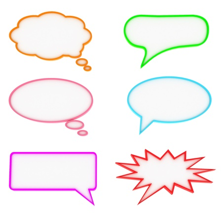 Different shapes of speech bubbles isolated on the white background photo
