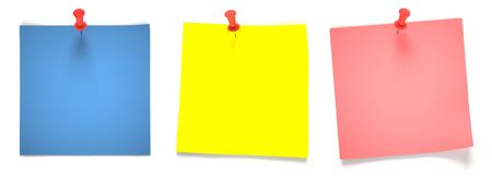Three multicolored note papers attached with red pins photo
