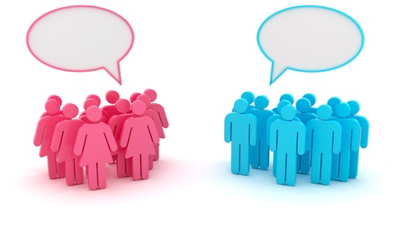 human gender: Chatting groups of men and women isolated on the white background