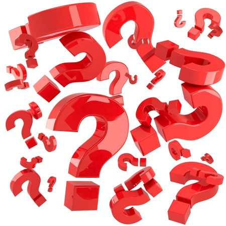 frequently asked questions: A lot of red question marks isolated on the white background
