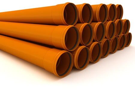 Stack of brown drain pipes isolated on white background Stock Photo - 9356137