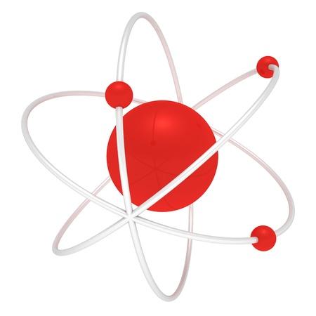 Three-dimensional atom isolated on white background photo