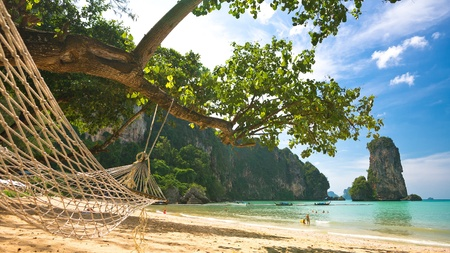 paradise place: Hammock on the sandy beach, Thailand, Krabi province Stock Photo