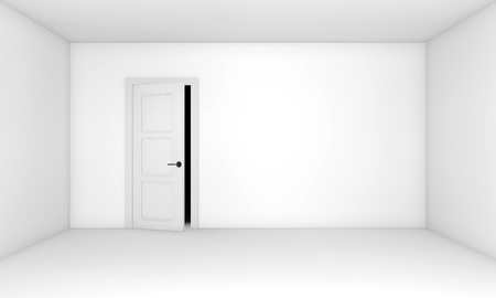 Ajar door in the empty white room Stock Photo - 9356162