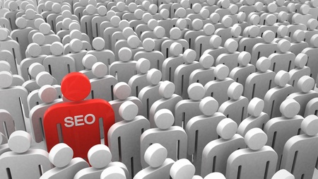 optimize: Red SEO man in the crowd of people. 3d objects isolated on the white background. Stock Photo
