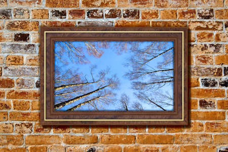 windows frame: Photo in modern frame on the old brick wall