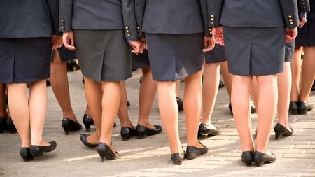 policewoman: Formaci�n de la mujer polic�a en desfile en Rusia