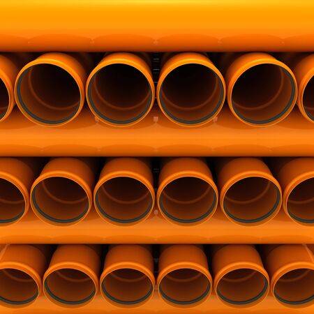 Stack of brown drain pipes photo