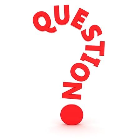 """Le mot """"question"""" en forme de point d'interrogation"""