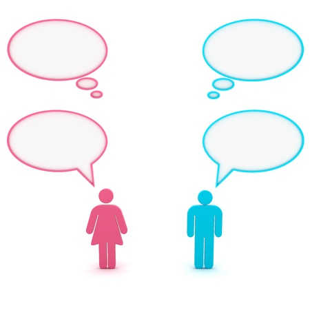 Figures of man and woman with speech bubbles above their heads photo
