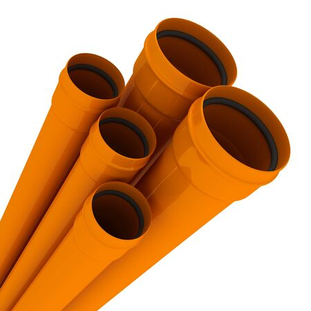 Some orange drain pipes isolated on white photo
