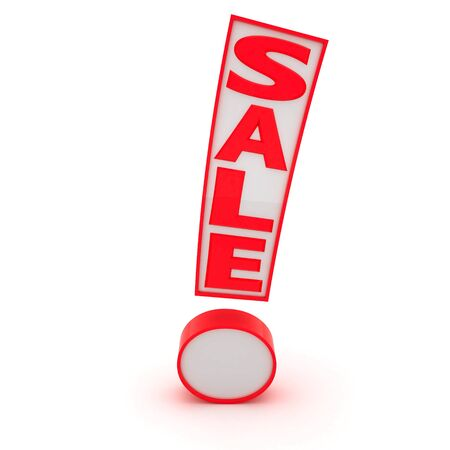 Exclamation mark with word Sale isolated on the white background Фото со стока