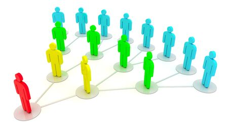 Grupo de personas en una red social aislada sobre el fondo blanco Foto de archivo