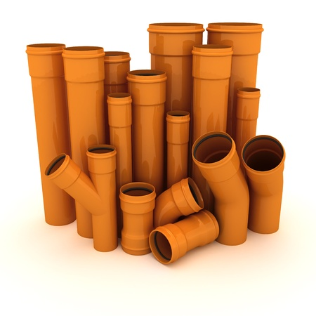 Set of brown drain pipes isolated on white Stock Photo - 9397273