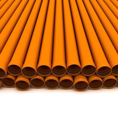 Some orange drain pipes isolated on white Stock Photo - 9412221