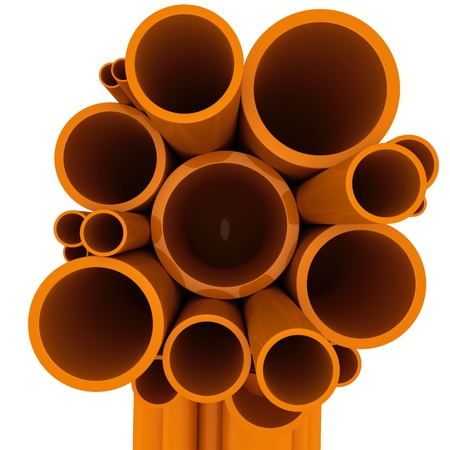 diameters: Curved plastic pipes of different diameters on a white