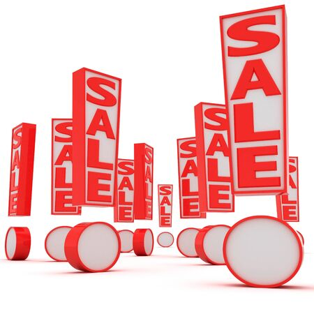 sales promotion: A lot of exclamation marks with word Sale Stock Photo