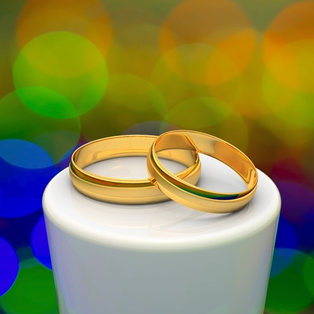 Two gold wedding rings on the podium  Stock Photo