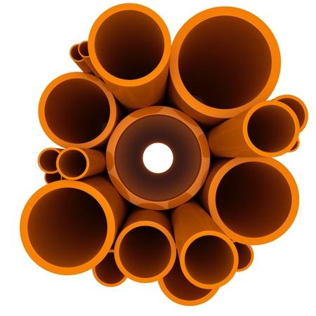 kunststoff rohr: Kunststoffrohre unterschiedlicher Durchmesser on a white Lizenzfreie Bilder