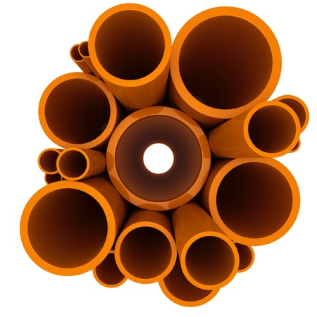 tubing: Plastic pipes of different diameters on a white