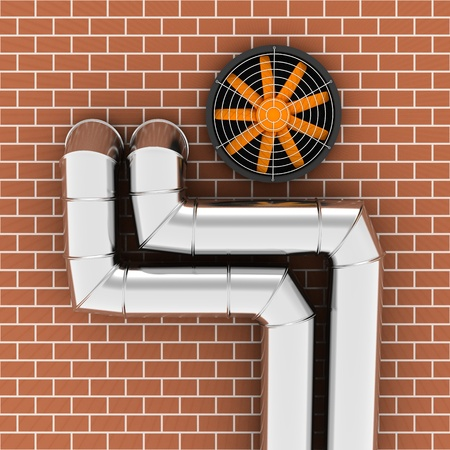 exhaust fan: Metal pipes and ventilator on the brick wall
