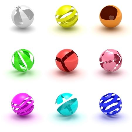 logo informatique: Spheres icons set isolated on white background.