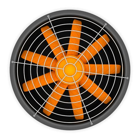Ventilation: 3d ventilator with orange blades isolated on the white background
