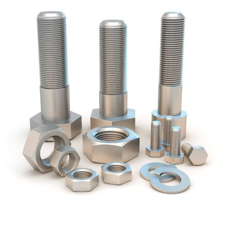 implements: Metal bolts and screws isolated on the white background Stock Photo