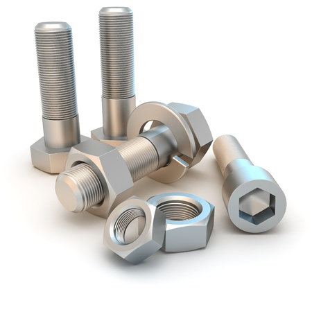 Metal bolts and screws isolated on the white background Stock Photo - 9517815
