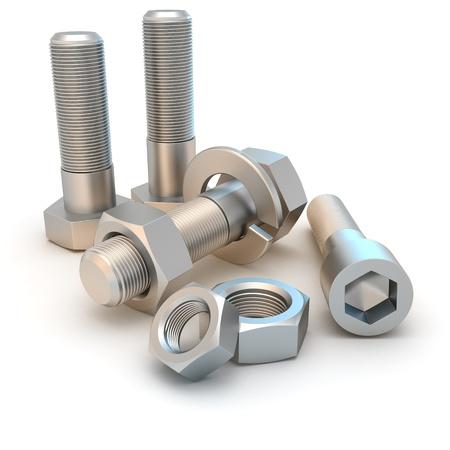 tuercas y tornillos: Pernos y tornillos aisladas sobre el fondo blanco de metal