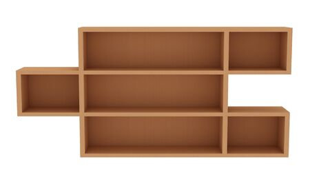 Wooden empty shelves isolated on the white background Stock Photo - 9543477