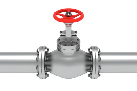 Red valve isolated on the white background