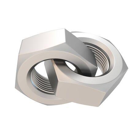 Pair of an interlocked screwnuts isolated on white Stock Photo - 9543489