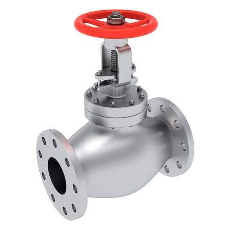 Red valve isolated on the white background Stock Photo - 9543490