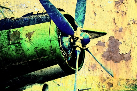 avia: Grunge picture of an old airplane with propeller Stock Photo