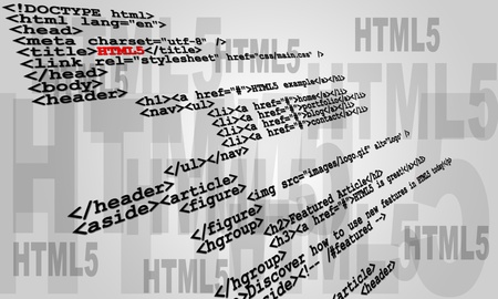 Abstract sample of HTML5 code listing Stock Photo - 9642048