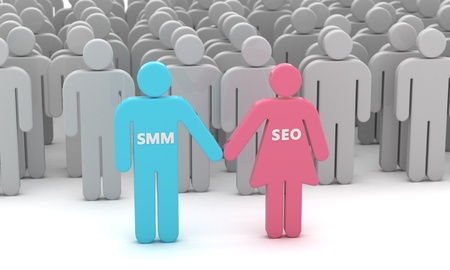 smo: SMM and SEO are advanced web technologies Stock Photo