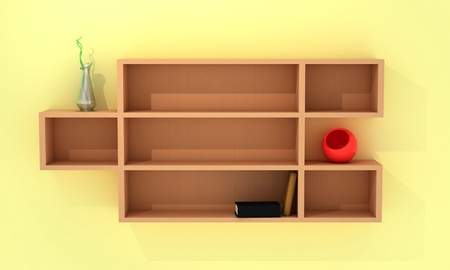 Wooden shelves with books, red and curve vases photo