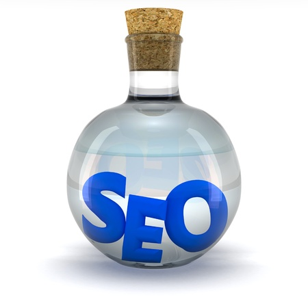 Blue word SEO in the glass flask Stock Photo - 9729369