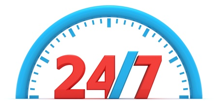 24 hours: Dial with a sign on a round-the-clock operating mode Stock Photo