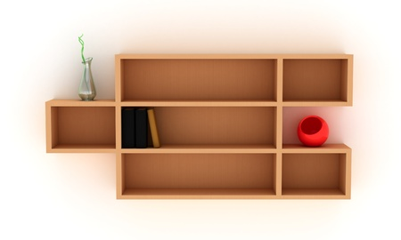 shelf: Wooden shelves with books and modern vases