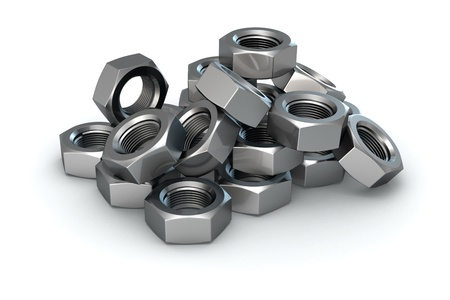 Isolated heap of metal nuts Stock Photo - 9729500