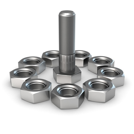 One big bolt surrounded by nuts Stock Photo - 9729504
