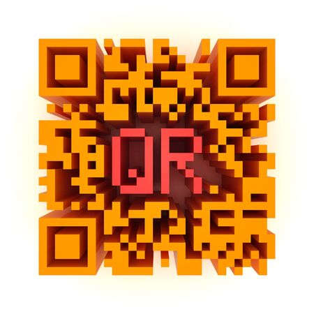 response: Render of a QR code (quick response) on a white background. Note: this qr-code is fake