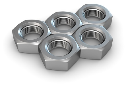 Five metal screw nuts in olympic rings shape Stock Photo - 9820097
