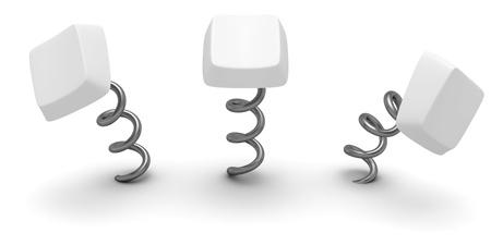 Three blank computer keys on springs photo