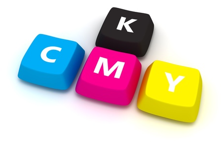 Computer keybord with letters CMYK isolated on the white background photo