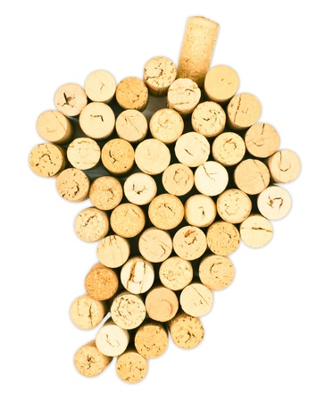 brown cork: Grapes figure from the wine corks on white background WITH clipping path