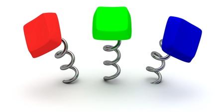 Three RGB-color computer keys on springs photo